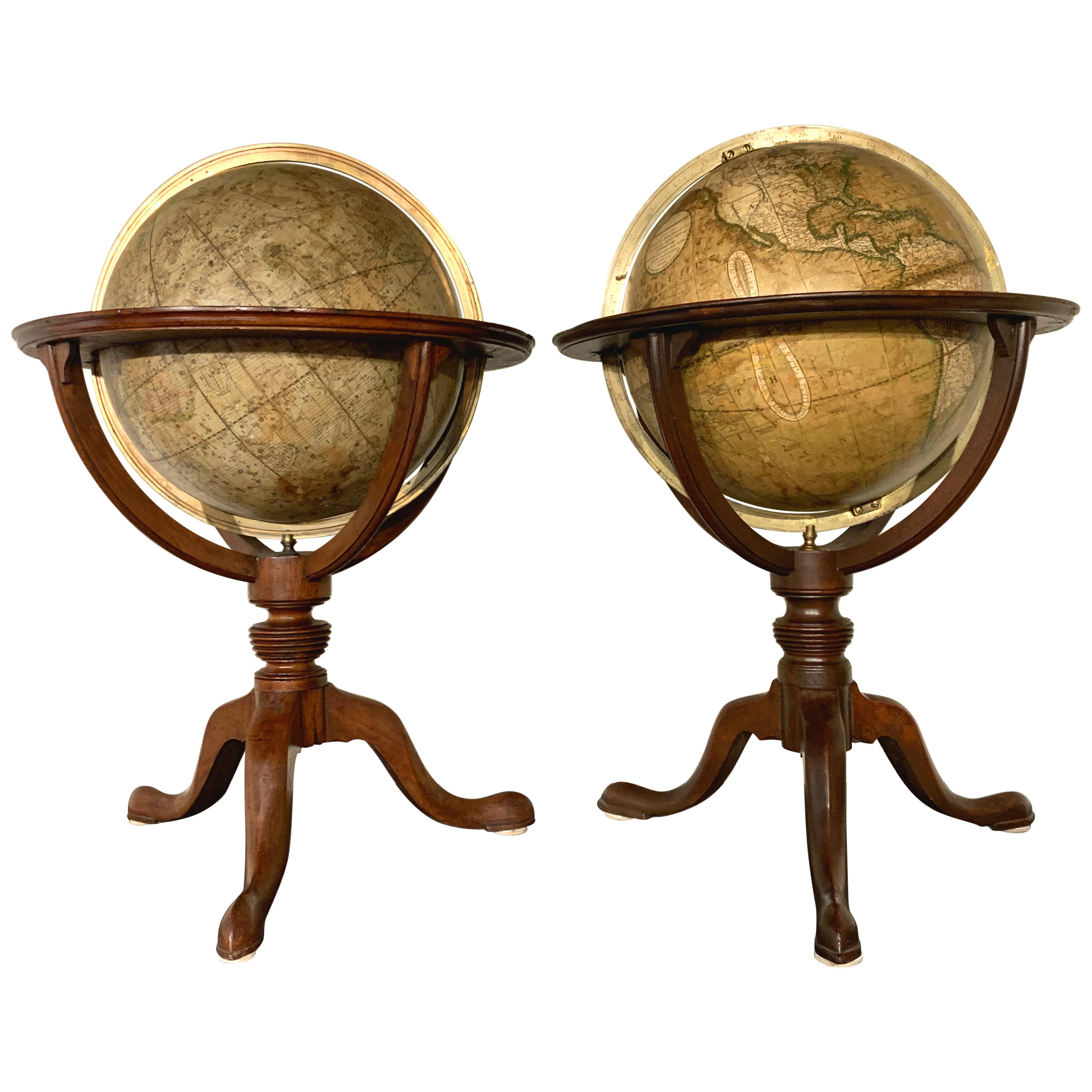 Pair of 19th Century English J & W Cary Celestial/Terrestrial Table Model Globes
