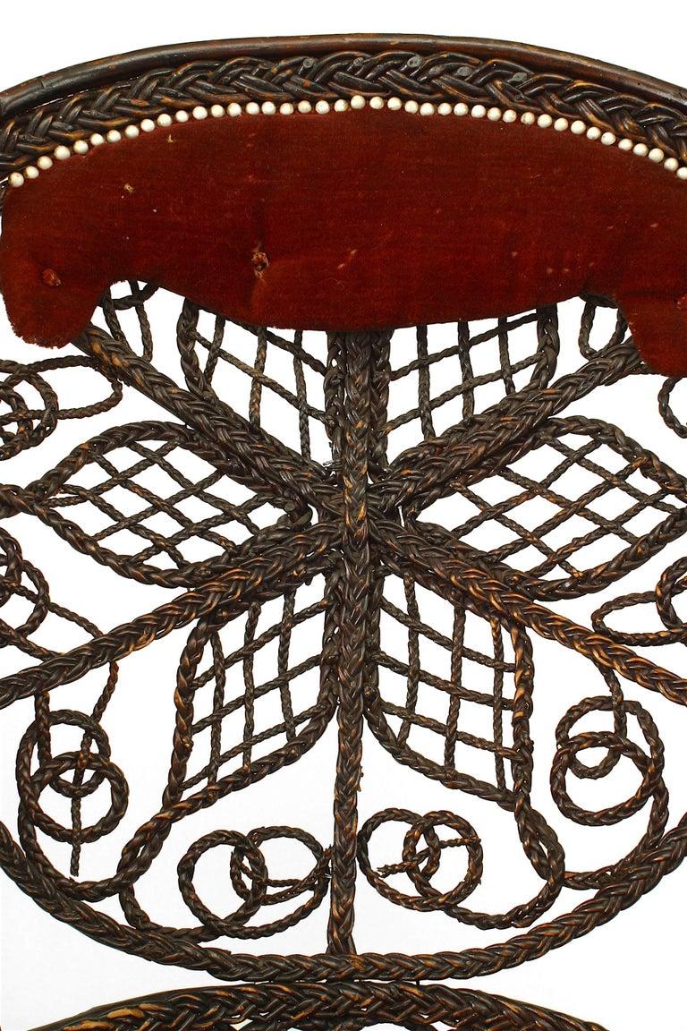 Velvet Pair of 19th c. Filigree Wicker Fan Back Arm Chairs For Sale