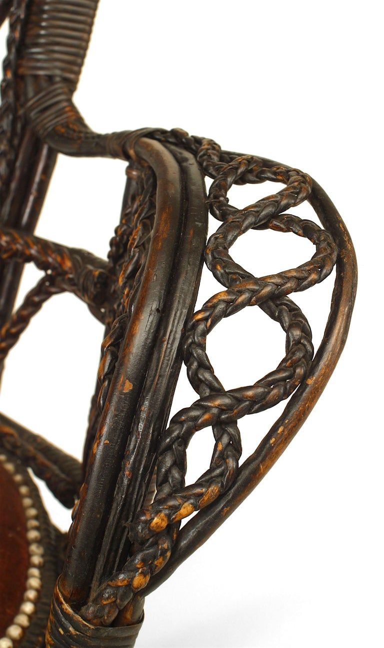 Pair of 19th c. Filigree Wicker Fan Back Arm Chairs For Sale 1