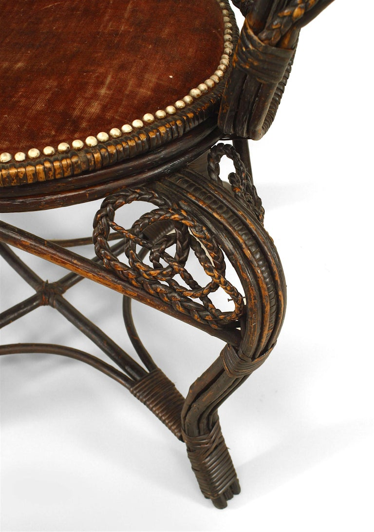 Pair of 19th c. Filigree Wicker Fan Back Arm Chairs For Sale 2