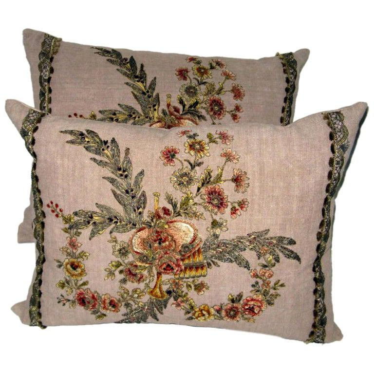 Pair of 19th C French Appliqued Linen Pillows For Sale