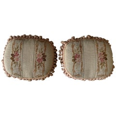 Pair of 19th C. French Aubusson Tapestry Pillows with Foliage and Petite Tassels