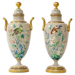 Pair of 19th C. French Baccarat Grey Opalescent Ground Hand-Enameled Vases
