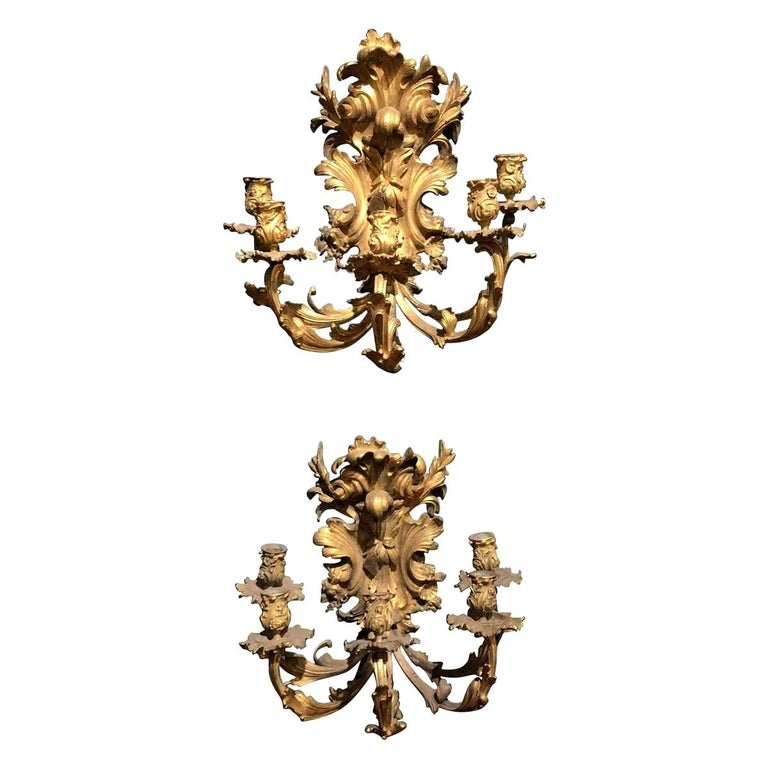 Pair of 19th Century French Bronze Five-Light Sconces For Sale