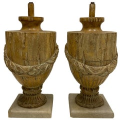 Pair of 19th Century French Carved Urn Form Lamps with Neoclassical Styling