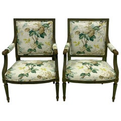 Pair of 19th Century Louis XVI Style Bergère Chairs in Charlotte Moss Linen