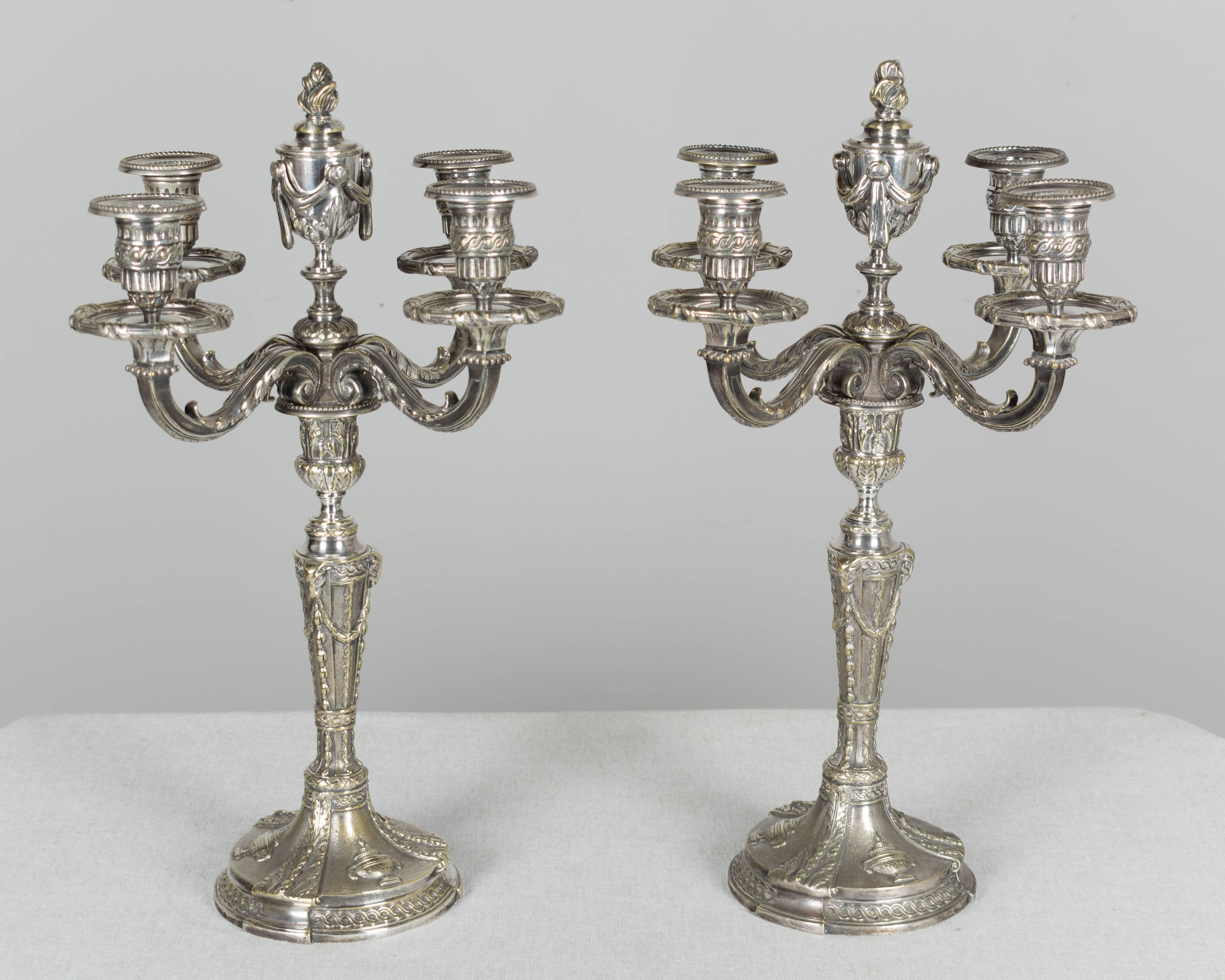 Louis XV Pair of 19th Century French Silver Plated Candelabra For Sale  sc 1 st  1stDibs & Pair of 19th Century French Silver Plated Candelabra at 1stdibs