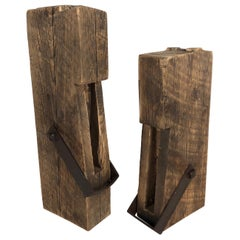 Pair of 19th C. Hand Hewn Barn Brace Segment Sculpture Brutalist