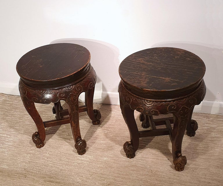 Hand-Carved Pair of 19th Century Hardwood Chinese Stands For Sale