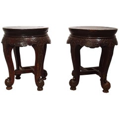 Pair of 19th Century Hardwood Chinese Stands