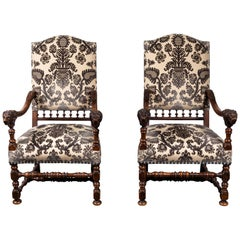 "Pair of 19th Century, ""Hotel Chairs"" in Silk Velvet"