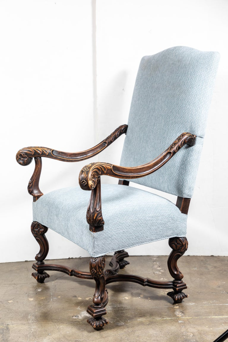 Hand-Carved Pair of 19th Century, Italian Armchairs For Sale