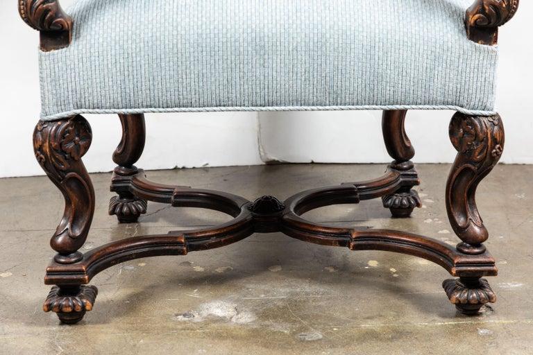 Velvet Pair of 19th Century, Italian Armchairs For Sale