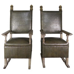 Pair of 19th Century Italian Armchairs with Giltwood Finials