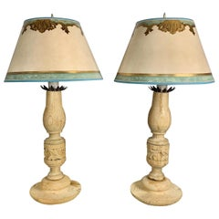 Pair of 19th Century Italian Candlestick Lamps with Custom Parchment Shades