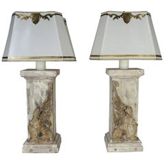 Pair of 19th Century Italian Carved Sphinx Lamps w/ Parchment Shades