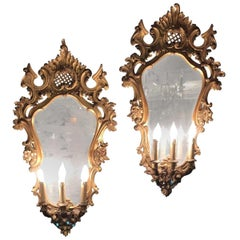 Pair of 19th Century Italian Carved Three-Light Mirrored Sconces
