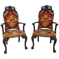 Pair of 19th Century Italian Carved Walnut Armchairs