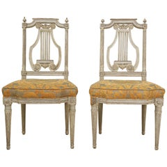 Pair of 19th Century Italian Painted Lyre-Back Chairs with Fortuny Seat Cushions