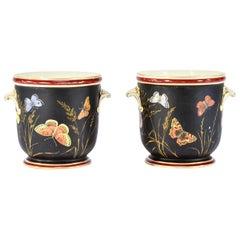 Pair of 19th c Old Paris Cachepots/Planters Black w/ Hand Painted Butterflies