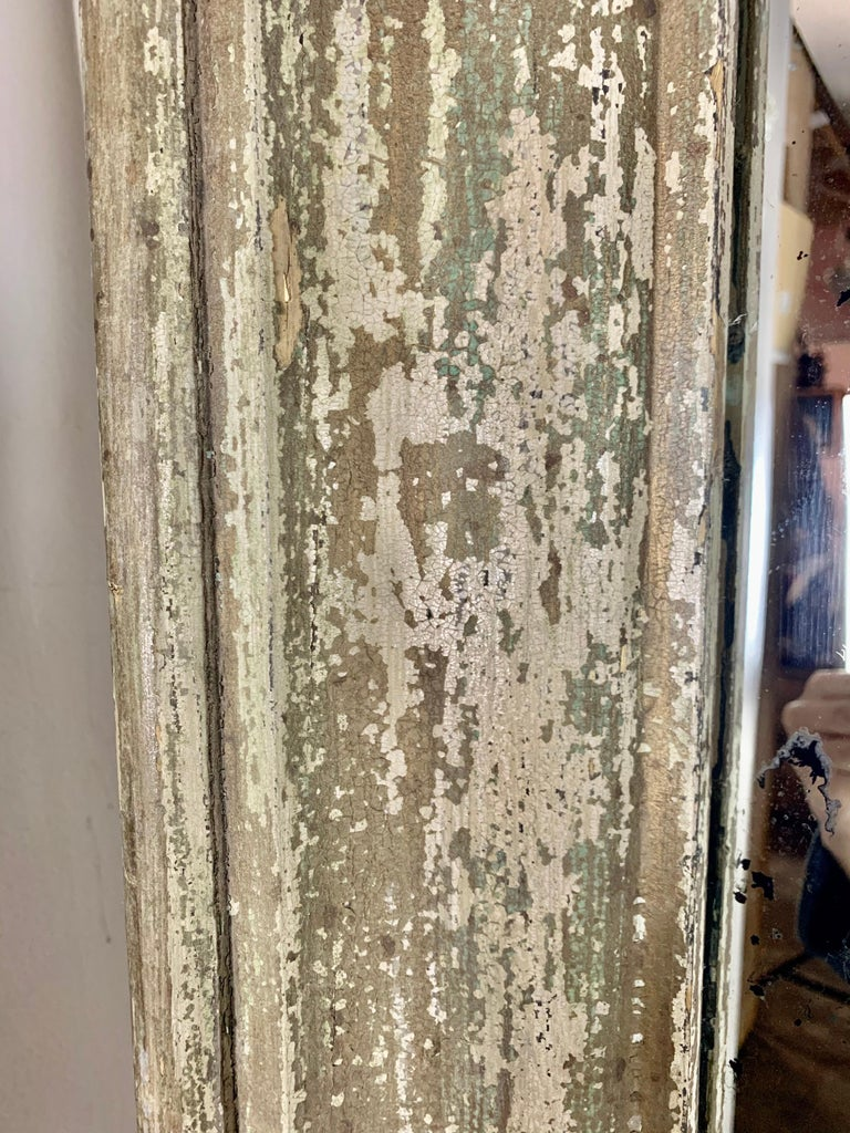 19th Century Painted Monumental Italian Mirror In Distressed Condition For Sale In Los Angeles, CA