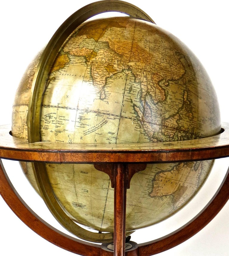 Pair of Terrestrial and Celestial Cary Floor Globes in Mahogany Stands For Sale 4