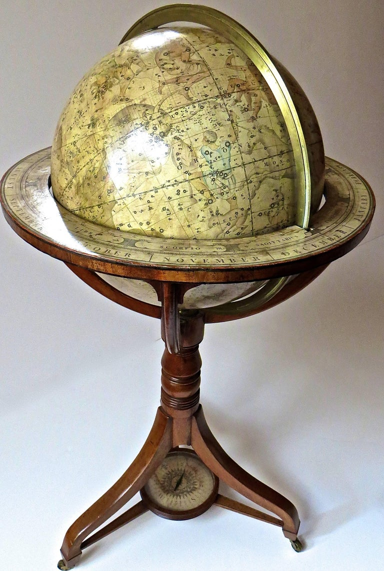 Pair of Terrestrial and Celestial Cary Floor Globes in Mahogany Stands For Sale 7