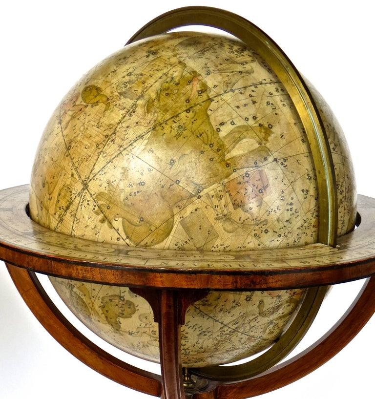 Pair of Terrestrial and Celestial Cary Floor Globes in Mahogany Stands For Sale 8