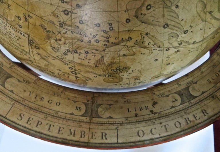 Pair of Terrestrial and Celestial Cary Floor Globes in Mahogany Stands For Sale 13