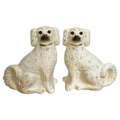 Pair of 19th Century White & Gilt Decorated Staffordshire Dogs