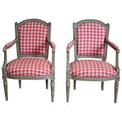 Pair of 19th Century French Painted Fauteuils in the Louis XVI Taste