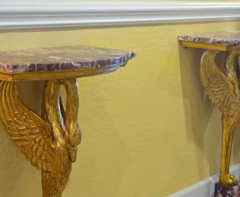 European Pair of 19th Century Likely Russian Carved Giltwood Marble Top Swan Consoles