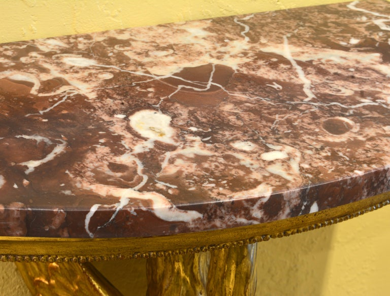 Pair of 19th Century Likely Russian Carved Giltwood Marble Top Swan Consoles In Good Condition In Ft. Lauderdale, FL
