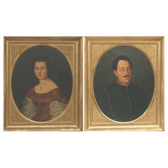 Pair of 19th Century Napoleon III Portrait, Oil on Canvas