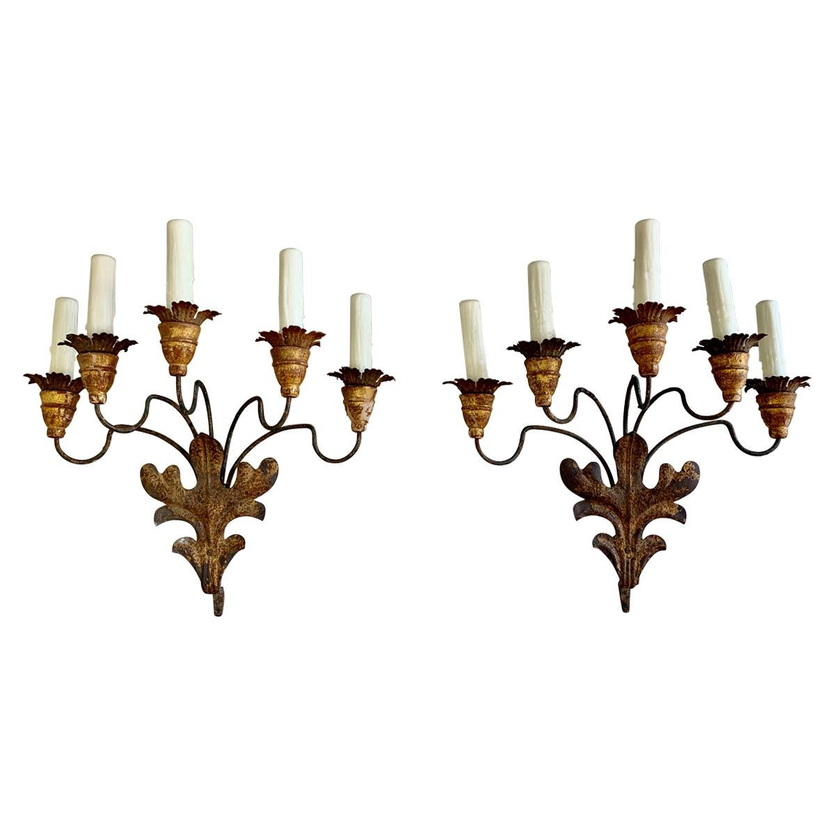 Pair of 19th Century French 5-Light Iron & Giltwood Sconces