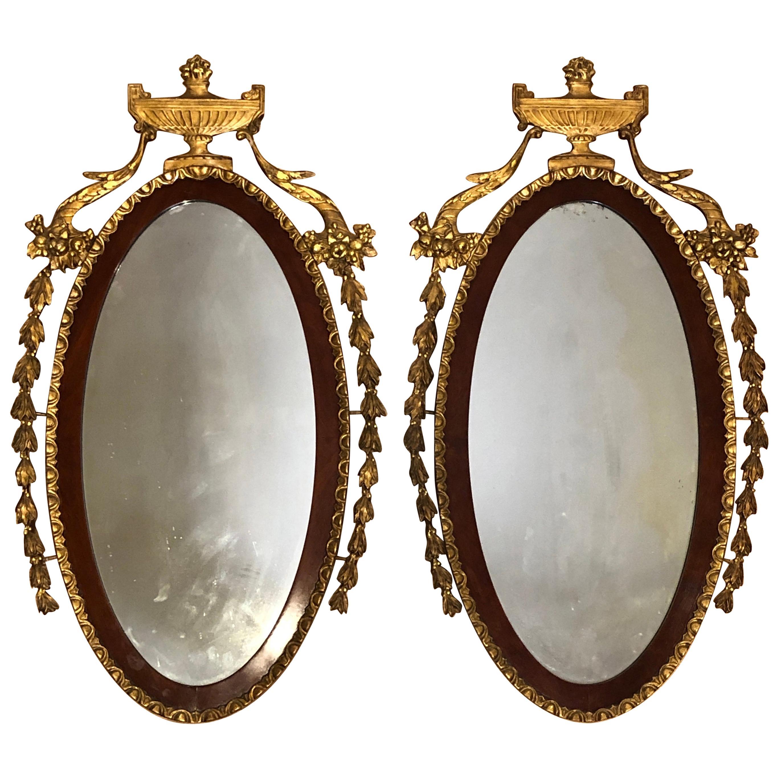 Pair of 19th Century Adam Style Giltwood Mirrors