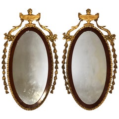 Pair of 19th Century Adam Style Giltwood Mirrors