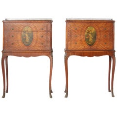 Pair of 19th Century Adams Style Satinwood Tables or Chests