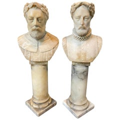 Pair of 19th Century Alabaster Hand Carved Busts of Ariosto and Tasso