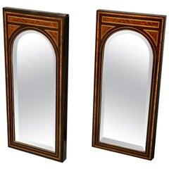 Pair of 19th Century Amboyna and Ebonized Pier Mirrors