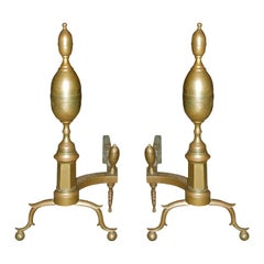 Pair of 19th Century American Brass Andirons, Double Lemon Finial, Trunk
