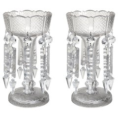 Pair of 19th Century American Clear Cut Crystal Mantel Lusters with Prisms