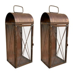 Pair of American Copper Lanterns