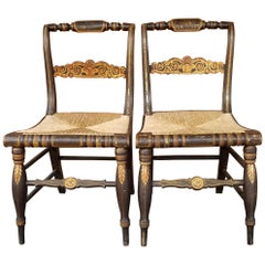 Pair of 19th Century American Gilt Stenciled Side Chairs