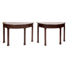 Pair of 19th Century American Mahogany Demilune Tables