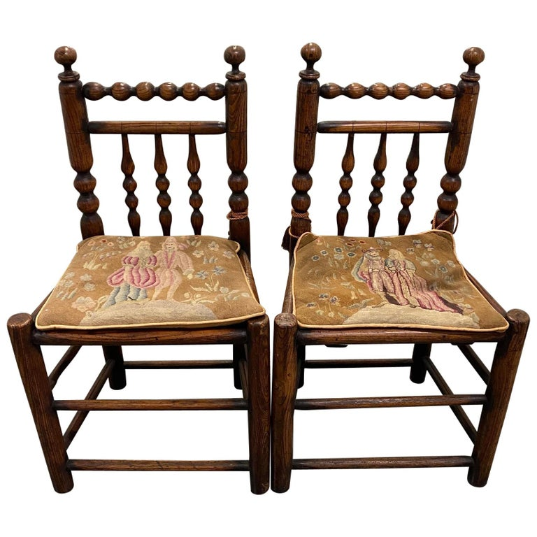 Pair of 19th Century American Walnut Side Chairs with Petit Point Cushions