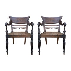 Pair of 19th Century Anglo-Indian Arm Chairs with Cane Seats