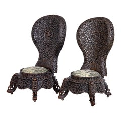 Pair of 19th Century Anglo-Indian Carved Hardwood Chairs