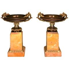 Pair of 19th Century Antique Bronze and Ormolu, Sienna Marble Tazzas