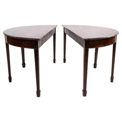 Pair of 19th Century Antique Demi Lune Side Table Dining Table